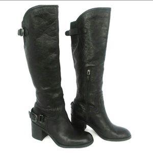 Franco Sarto Black Leather Knee High Boots Sz 7